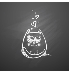 Cat with hearts vector
