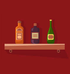 Champagne and rum standing on wooden shelf vector