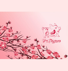 Chinese new years 2019 decoration for blossom vector