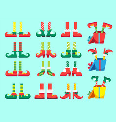 christmas elf feet shoes for elves foot santa vector image