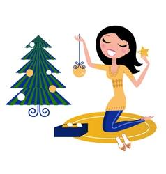Christmas tree woman vector