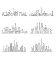 cities skylines set vector image