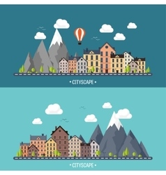 City in summer urban landscape with mountains vector