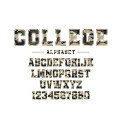classic college font with camouflage texture vector image