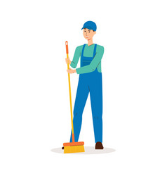 Cleaner man in blue uniform holding a broom and vector