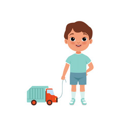 Cute litlle boy with toy car stage of growing up vector