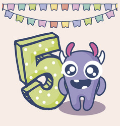 Cute monster with number five birthday card vector
