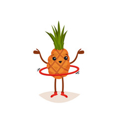 Cute pineapple spinning hula-hoop with hands up vector