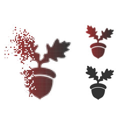 Destructed dotted halftone oak acorn icon vector