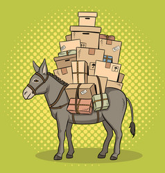 Donkey loaded parcels pop art vector