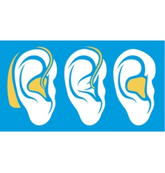 Ear hearing aid deaf problem icons collection vector