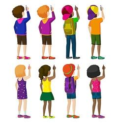 Eight faceless kids writing vector image