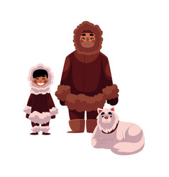 Eskimo inuit father son in warm clothes with vector