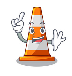 finger on traffic cone against mascot argaet vector image