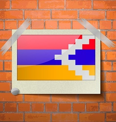 Flags Karabakh Republic scotch taped to a red vector image