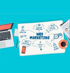 Flat design concept for web marketing vector
