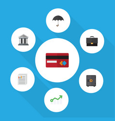 Flat icon finance set of strongbox document vector