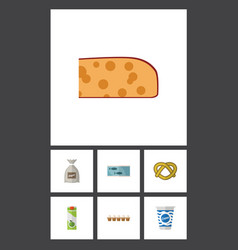 Flat icon meal set of cheddar slice yogurt vector