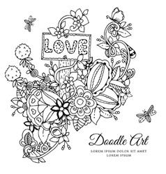 Floral frame Doodle drawing vector