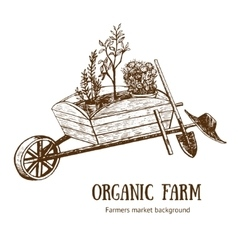 Garden Cart Organic Farm Hand Draw Sketch vector image