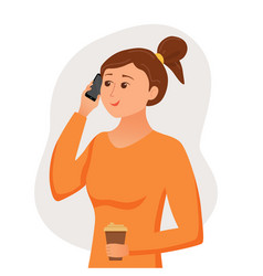 girl speaking using her smartphone holding in her vector image