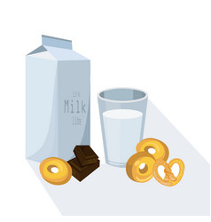 glass of milk with pretzel white vector image