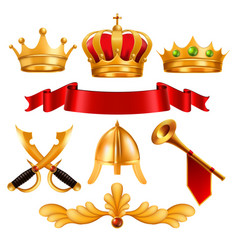 Gold crown golden king royal crown with vector