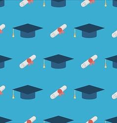 Graduation Cap and Diploma Seamless Pattern vector image