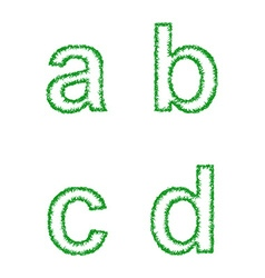 Green grass font set - lowercase letters a b c d vector