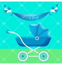 Greeting card with blue carriage vector