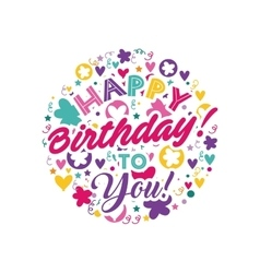 happy birthday celebration card icon vector image