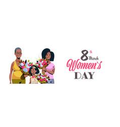 Happy three generations african american women vector