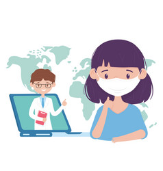 Health online consultation doctor and patient vector