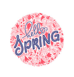 hello spring hand lettering and doodle vector image