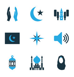 Holiday icons colored set with qiblah headscarf vector