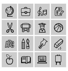Icons set school vector image