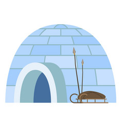 igloo arctic people dwelling with sledge and spire vector image