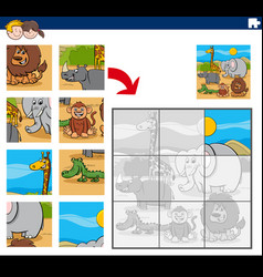 Jigsaw puzzle game with cartoon animals vector