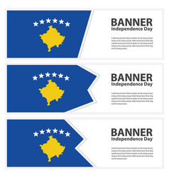 Kosovo flag banners collection independence day vector