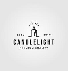 Luxury vintage line art candle light flame logo vector