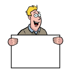 man holding a sign vector image