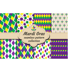 Mardi gras set of abstract geometric pattern vector