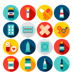medicine pharmacy flat icons vector image
