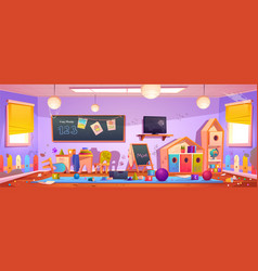 Messy kids room interior in kindergarten vector