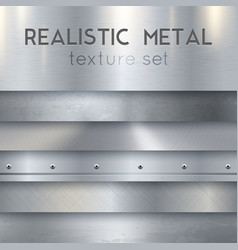 Metal texture realistic horizontal samples set vector