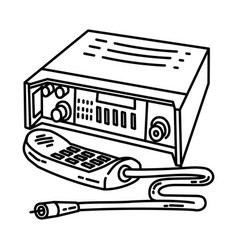 military radio icon doodle hand drawn or outline vector image