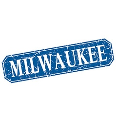 Milwaukee blue square grunge retro style sign vector