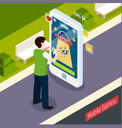 Mobile games isometric composition vector