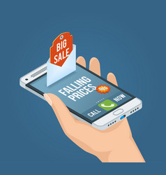 mobile marketing isometric concept vector image