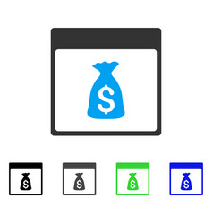 Money bag calendar page flat icon vector